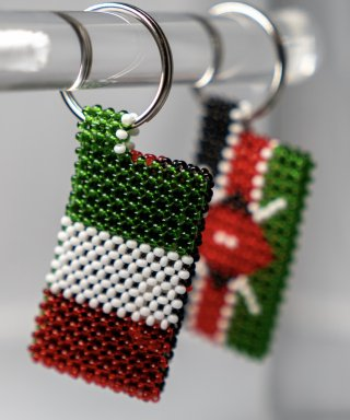 Italian & Kenyan Flags Key Ring